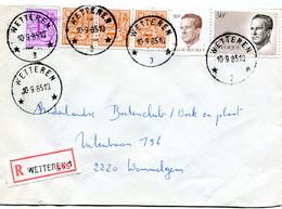 1985 R-enveloppe Met Ster Stempel WETTEREN 3 Op Verschillende Boudewijn Zegels ( Velghe En Elstrom ) + Leeuw - Lettres & Documents