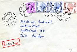 1983 R-enveloppe Met Ster Stempel ZERKEGEM Met R-sticker Jabbeke - Elstrom  Zegels + 1Fr - Lettres & Documents