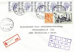 1984 R-enveloppe Met Ster Stempel MELSELE 2 - Elstrom  Zegels + Bijfrankeringen - Lettres & Documents