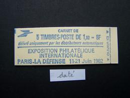 2155-C1a CARNET DATE DU 20.8.8? FERME 5 TIMBRES SABINE DE GANDON 1,60 ROUGE PHILEXFRANCE 82 - Usados Corriente