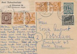 OTTOBEUREN  -  23.6.1948 ,  Ganzsache  - 10-fach Frankatur  - Währungsreform - Zona Anglo-Américan