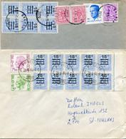 2 Enveloppen Met Zegels 15c Op 50C Leeuw Met Bijfrankeringen EKEREN - POST 10 4090 BSD - Lettres & Documents