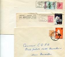 3 Enveloppen Met Stempels BRUXELLES BRUSSEL - OOSTENDE Met Leeuw Bijfrankeringen - Europa - Asttronaut - Militair - Lettres & Documents