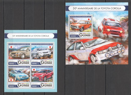 ST027 2016 GUINEE GUINEA TRANSPORT CARS TOYOTA COROLLA 1KB+1BL MNH - Voitures