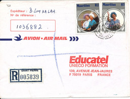 Mauritius Registered Cover Sent To France 24-7-1985 Topic Stamps ROYAL - Mauritius (1968-...)