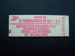 2187-C2 CONF. 3 CARNET FERME 10 TIMBRES LIBERTE DE GANDON 1,60 ROUGE PHILEXFRANCE 82 - Standaardgebruik
