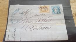 LOT550942 TIMBRE DE FRANCE OBLITERE SUR ENVELOPPE - 1863-1870 Napoléon III. Laure