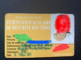 CARTE ATTESTATION SCOLAIRE DÉ SÉCURITÉ ROUTIÈRE  ASSR  Rueil-Malmaison - Otros