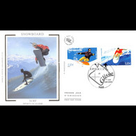 FDC Soie - Sports De Glisse - Snowboard / Surf - 3/7/2004 Paris - 2000-2009