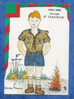 CPM Scoutisme Epinay Sur Seine Groupe Tarcisius - 1956 1986 Illustrateur Jean Luc Perrigault -654/1500 - Padvinderij