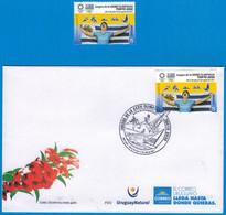 Uruguay 2021 ** Stamp + FDC Olympic Games Tokyo. Athletics, Swimming, Martial Arts, Rowing, Sailing. - Zomer 2020: Tokio