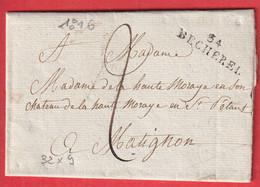 MARQUE 34 BECHEREL ILLE ET VILAINE  1816 POUR MATIGNON INDICE 13 - 1801-1848: Précurseurs XIX
