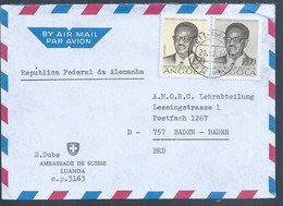 Letter From The Swiss Embassy In Luanda With Stamps From President Agostinho Neto 1979. Brief Der Schweizer Botschaft In - Angola