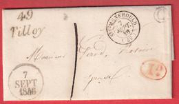 CURSIVE 49 TILLOY MARNE BOITE RURALE C HERPONT DECIME RURAL ROUGE TAXE LOCAL 1 1846 CURSIVE 49 GIVRY EN ARGONNE ARRIVE - 1801-1848: Precursors XIX