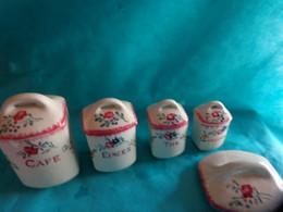 Lot De 4 Pots  A Epices + 1 Couvercle Sarreguemines Modele Dieppe - Unclassified