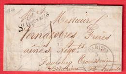 CURSIVE 33 ST GERVAIS HERAULT CAD TYPE 14 BEDARIEUX 1844 TAXE LOCALE 1 INDICE 11 - 1801-1848: Precursors XIX