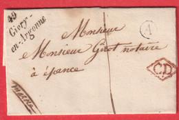 CURSIVE 49 GIVRY EN ARGONNE CD ROUGE TAXE LOCALE 1 BOITE RURALE A CHATELIER POUR EPENSE - 1801-1848: Precursors XIX