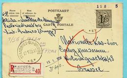 Relais/sterstempel ST ANDRIES-BIJ-BRUGGE 6 13/01/1956 Op Aanget. Postkaart -- Zegel Verwijderd - Postmarks With Stars