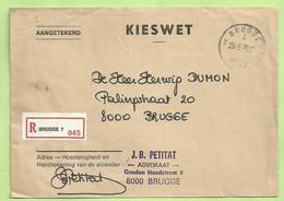 Brief KIESWET Aangetekend Stempel BRUGGE 7 (B3843) - Franchise