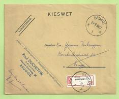 Brief KIESWET Aangetekend Stempel BRUGGE 1K, Strookje ONBEKEND Stempel BRUGGE 1T (B3847) - Franchise