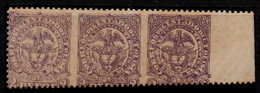 A452A- KOLUMBIEN - TOLIMA STATE/ 1886- MI# 44- MINT STRIP WITH ERROR, NO PERFORATE AT VERTICAL SIDE - Colombia