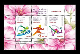 Kyrgyzstan 2021 Mih. 1036/38 (Bl.115) Olympic Games In Tokyo. Swimming. Fencing. Athletics MNH ** - Kirghizistan