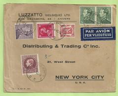 291A+423+428+431+433 Op Brief Per Luchtpost (avion)  Stempel ANTWERPEN Naar U.S.A. (B4307) - 1929-1941 Big Montenez