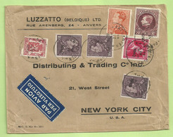 291A+423+428+434+435 Op Brief Per Luchtpost (avion)  Stempel ANTWERPEN Naar U.S.A. (B4308) - 1929-1941 Big Montenez