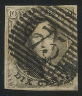"Belgium 1851 Medaillons Wtm. Un-framed ""LL"" 10c Brown With Perception Postmark ""75"" (LOKEREN), Perfect, COB 6 - 1851-1857 Medaillons (6/8)"