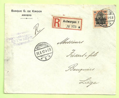 BZ 19 Op Brief Aangetekend Stempel ANTWERPEN, Stempel FREIGEGEBEN + Verso INHALT GEPRUFT GENERALKOMMISSAR (B4313 - [OC1/25] Gen. Gouv.