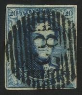 "Belgium 1851 Medaillons Wtm. Un-framed ""LL"" 20c Blue With Perception Postmark ""85"" (NAMUR), Perfect, COB 7 - 1851-1857 Medaillons (6/8)"