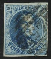 "Belgium 1851 Medaillons Wtm. Un-framed ""LL"" 20c Blue With 8-BAR Perception Postmark ""45"" (GAND), Perfect, COB 7 - 1851-1857 Medaillons (6/8)"