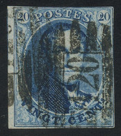 """Belgium 1858 Medaillons Un-watermarked 20c Blue With 8-BAR Perception Postmark """"120"""" (TOURNAY), Perfect, COB 11A - 1858-1862 Medaillons (9/12)"""