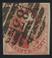 """Belgium 1858 Medaillons Un-watermarked 40c Red With 8-BAR Perception Postmark """"83"""" (MONS), Perfect, COB 12A - 1858-1862 Medaillons (9/12)"""
