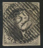 "Belgium 1851 Medaillons Wtm. Un-framed ""LL"" 10c Brown With Perception Postmark ""50"" (GOSSELIES), Perfect, COB 6 - 1851-1857 Medaillen (6/8)"