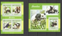 ST2249 2015 MOZAMBIQUE MOCAMBIQUE FAUNA WILD ANIMALS BEARS PANDAS KB+BL MNH - Beren