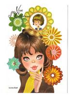 CARTE ILLUSTRATEUR SIGNEE CAMUNAS - UNE ADOLESCENTE, MODE 70, FLEURS, IG VILA SALAS HNOS BARCELONE ESPAGNE, A VOIR - Other Illustrators