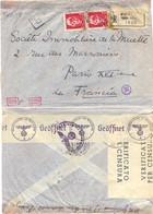 GUERRE 39-45 RECOMMANDÉ ITALIE FIRENZE 10-9-41 Avec DOUBLE CENSURE VERIFICATO PER CENSURA + ALLEMANDE 2315/2325 => PARIS - WW II