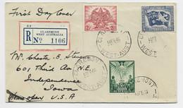 AUSTRIALIA PEACE 2 1/2+3 1/2 + 5 1/2 LETTRE COVER REC CLAREMONT WEST AUSTRALIA 18 FE 1946 TO USA - Lettres & Documents