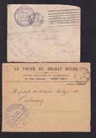 FOYER Du Soldat Belge Rue D' Astorg à PARIS - 1 Enveloppe (Section D'OSNY Près De PONTOISE) Et 1 Devant , 2 TB Cachets - Armada Belga