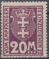 Danzig 1937. Portomarken. Stadtwappen Von Danzig (Gdansk), Mi P14 Ungebraucht Mit Falzrest - Coordination Sectors