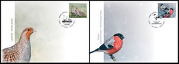 Latvia Lettland Lettonie 2021 (11) Birds Of Latvia - Grey Partridge - Eurasian Bullfinch (unaddressed FDC) - Lettonia