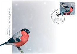 Latvia Lettland Lettonie 2021 (11-2) Birds Of Latvia - Eurasian Bullfinch (unaddressed FDC) - Lettonia