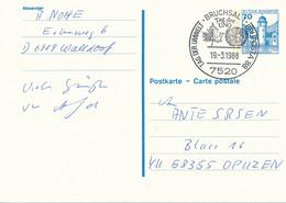 BRUCHSAL  -  1988  ,  Tag Der UNO  -  Ganzsache Nach OPUZEN / Kroatien  -  Michel P136 II - Cartes Postales - Oblitérées