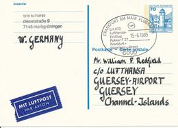 FRANKFURT / M   -  1985  , LH 072  First Flight  FRA - Guernsey   -  Ganzsache Nach Guernsey  -  Michel P136 II - Cartes Postales - Oblitérées
