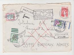 LSC De Besançon TAXEE à Son ARRIVEE à BORDEAUX ARMEES De 1980 TB - Postage Due Covers