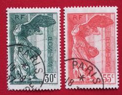 Paire De La Victoire De Samothrace (354, 355 Yvert Et Tellier), Bien Centrée, Bien Oblitérée. - Usati