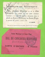 1928 Canet Plage 66 Lot 2 Cartons Bal & Soirée Du 28 Juillet Du Concours Hippique Au Casino Municipal 12x8 Cms - Historische Documenten