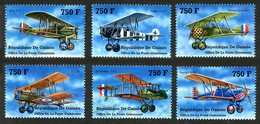 Guinée Guinea 2002 Planes First World War Spad XIII, Airco DH-2, Fokker D-VII, SE-5A, Thomas-Morse S4C Scout - Airplanes