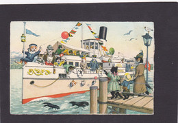 Anthropomorphic Cat Card  -    Cats On Board.    1957. - Gatos